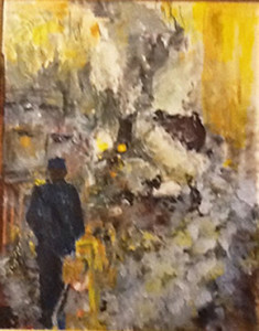 New Hope Steam Train, in the station by Miriam Mondlin (acrylic on canvas)