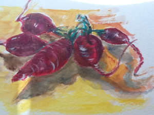 Large Radishes (acrylic on canvas paper)