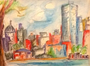 """Brooklyn the Gorgeous"" (seen from the East River, Manhattan) (ink pencils, watercolor on paper)"