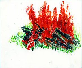 """Bonfire"" (watercolor on paper)"